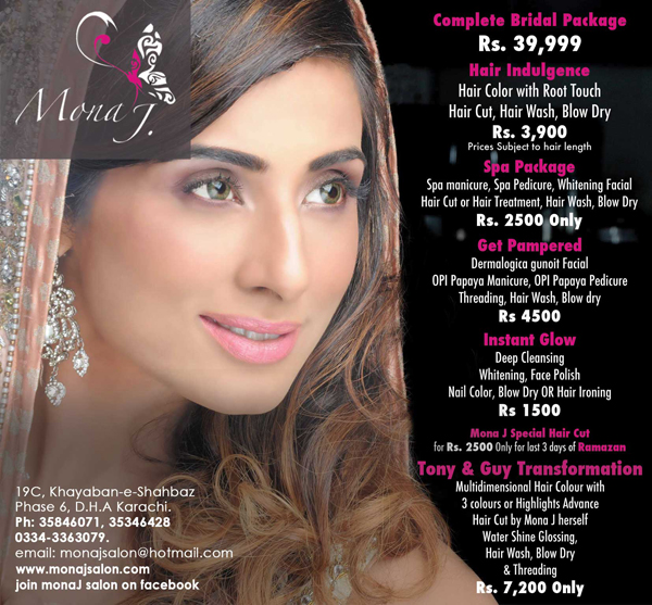 Ramadan salon deals eid gift ideas of karachi 2014 for Mona j salon contact
